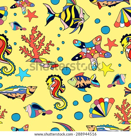 Sea seamless pattern with fish starfish and corals in yelow