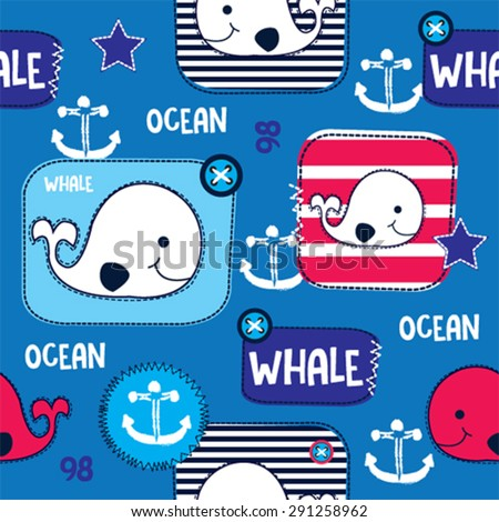sea seamless pattern with whale vector illustration