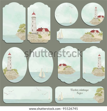 Sea set of a retro cards with seagulls, ships, a beacon and the house - stock vector