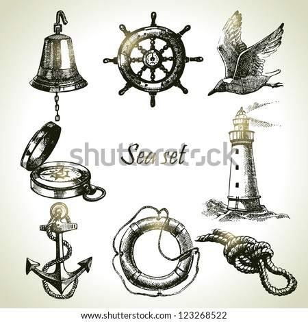 Sea set of nautical design elements. Hand drawn illustrations - stock vector