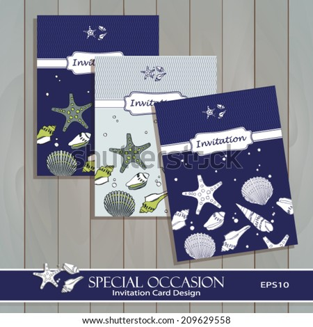 Sea shell invitation card set design stock vector 209629558 sea shell invitation card set design greeting card template for special occasions life events stopboris Choice Image