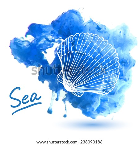 Sea shell on a watercolor background. Original hand drawn illustration - stock vector