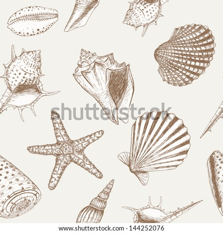 Sea shell pattern. Marine summer seamless background for your design and scrapbooking.
