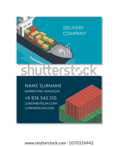 Sea shipping logistics business card template stock vector hd sea shipping logistics business card template with container ship commercial world marine navigation goods fbccfo Choice Image
