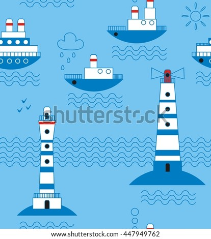 Sea, ships, lighthouses, seagulls, clouds, sun white, blue, red, black a seamless pattern on a light blue background. - stock vector