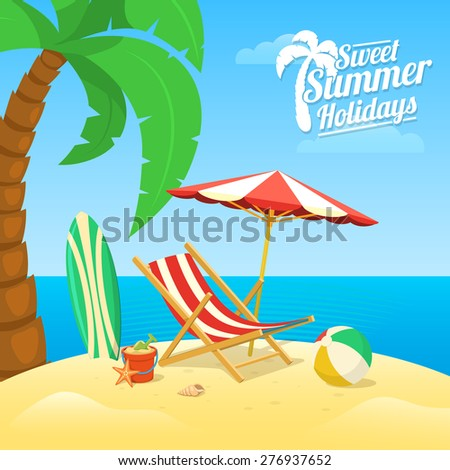 Sea shore beach view. Summer tropic travel background design. - stock vector
