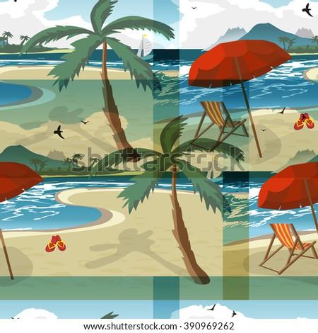 Sea summer beach, sun umbrellas, beach beds seamless pattern background. Umbrella and deskchair on a beach in summer day vacation. Vector flat textile seamless pattern - stock vector