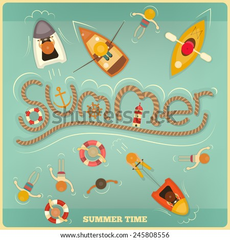 Sea Summer Card. Top View. Vector Illustration. - stock vector