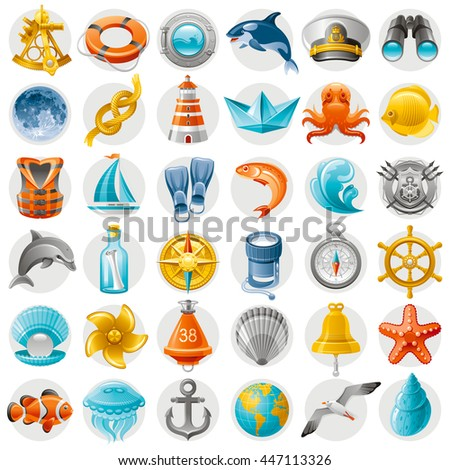 Sea summer travel icon set with shipping yacht and beach symbols. White background. Concept icons with octopus, vintage compass, helm, starfish, binoculars, lighthouse, sailor hat, boat, dolphin, moon - stock vector