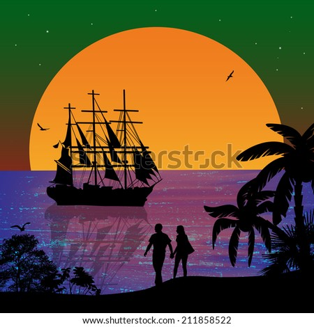 Sea sunset with boat and couple silhouettes on beautiful place, vector illustration - stock vector
