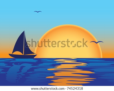 sea sunset with boat and seagulls silhouettes