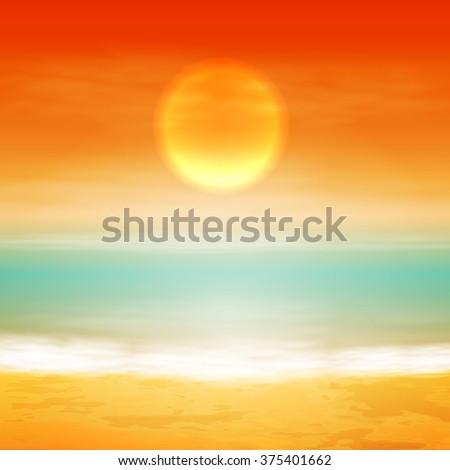 Sea sunset with the sun, light on lens. EPS10 vector. - stock vector