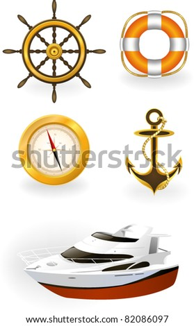 Sea symbols - stock vector