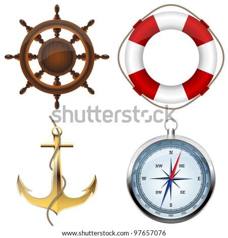 Sea symbols on a white - stock vector
