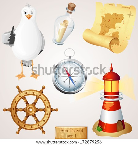 Sea travel icons set.  - stock vector