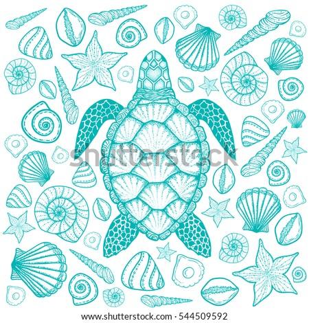 top hand design sea turtle line art style hand stock vector 561354991 shutterstock