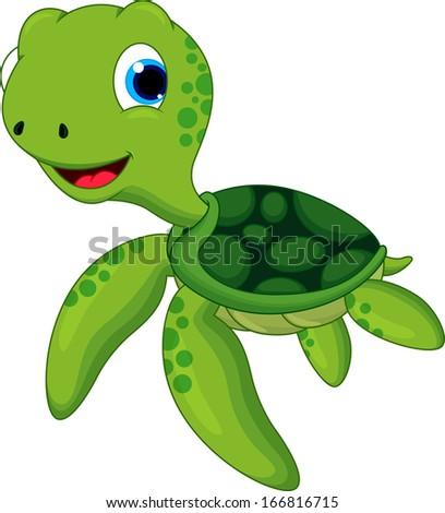Sea Turtle Cartoon Stock Vector 166816715 - Shutterstock