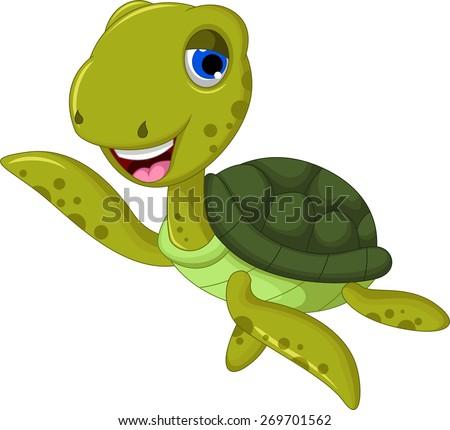 sea turtle cartoon waving - stock vector