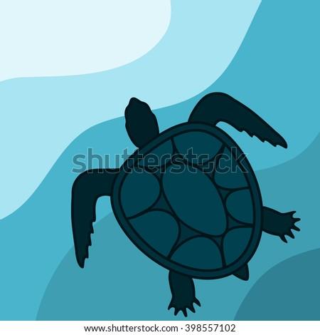 Sea turtle shape vector  Download Free Vector