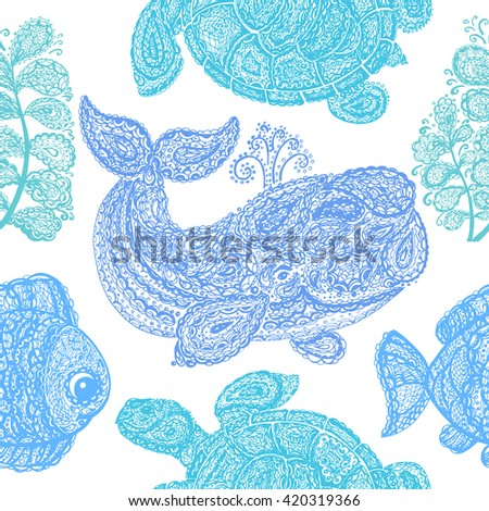 Sea turtle, whale, water plant and fish pattern. Doodle paisley mehndi style pattern. Sea life. Pattern with colorful animals in the ocean. Sea life pattern. Wallpaper seamless surface textile pattern - stock vector