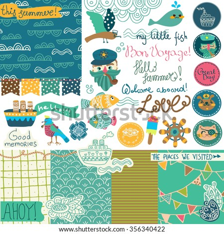 Sea vacation scrapbooking collection, different elements for beautiful design, Vector - stock vector