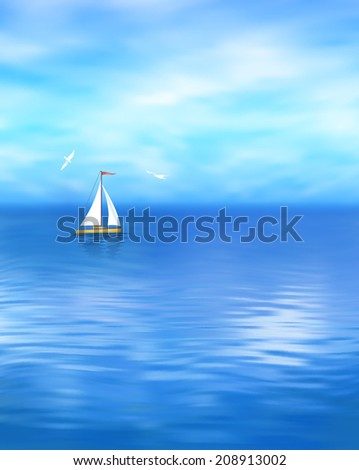 Sea vector landscape with blue sky, cloud, yacht, gull, wave water - stock vector