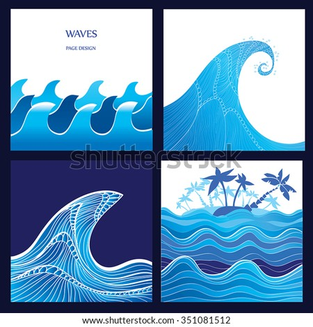 Sea, Wave, Ocean, tsunami vector illustration - set of 4 water backgrounds. Graphic waves and tropical island with palm trees. Blue watercolor wave silhouette with stripes. High Wave concept. Eps 10. - stock vector