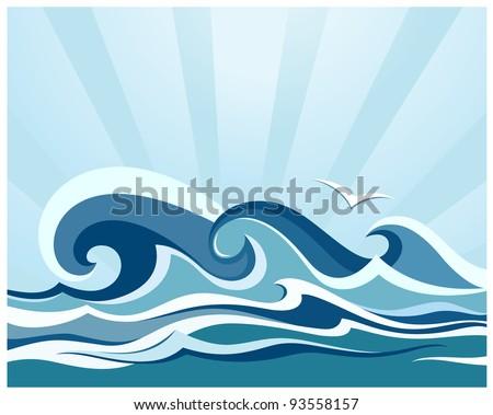 Sea waves - stock vector