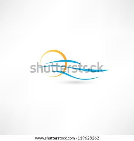 sea waves and rising sun vector illustration - stock vector