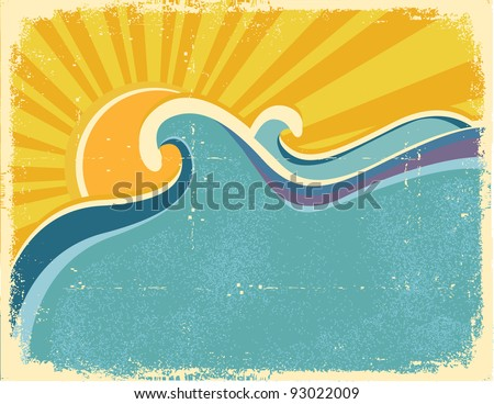 Sea waves poster with palms. Vector illustration of sea landscape on old texture - stock vector