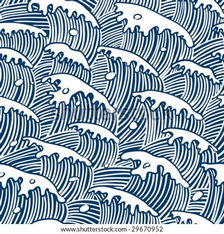 sea waves vector seamless wallpaper - stock vector
