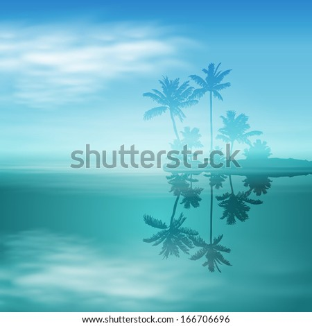 Sea with island and palm trees. EPS10 vector. - stock vector