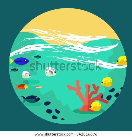 sea world illustration cartoon style  - stock vector