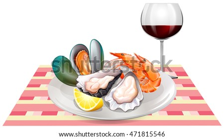 Seafood and red wine on table illustration