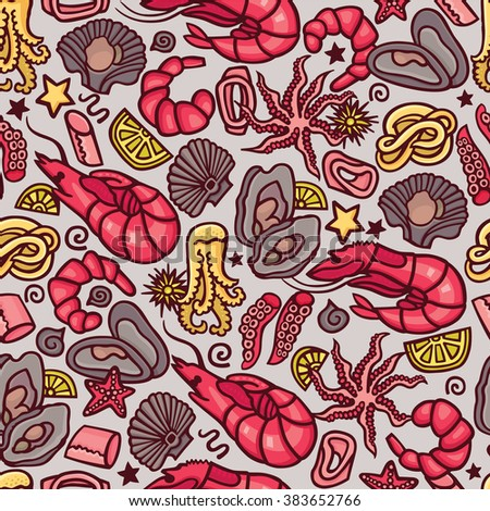Seafood cocktail seamless pattern in vector. Cute hand drawn illustration of seafood including shrimps, oysters, crabs and calamar. Perfect background for a menu of a mediterranean cuisine restaurant - stock vector