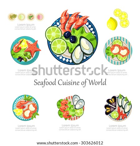 Seafood design set. Infographic food business seafood idea. Can be used for layout, advertising and web design. Seafood menu for restaurant Infographics - stock vector