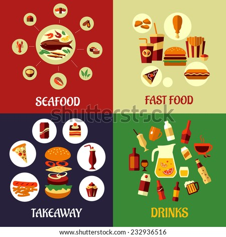 Seafood, fast food, takeaway and drinks flat icons on colorful background for restaurant, cafe or infographics design - stock vector