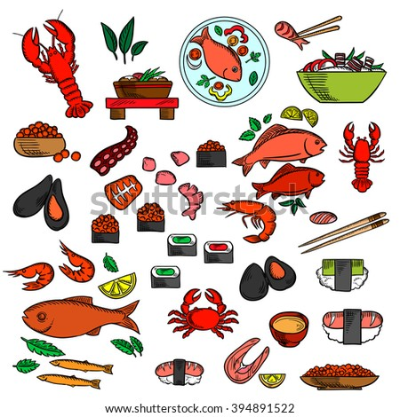 Seafood, fish and delicatessen sushi and red caviar, crab and shrimp, lobsters and oysters, mussels and octopus, chopstick and salmon steak, fishes and shrimp salad, soup, vegetables and herbs - stock vector