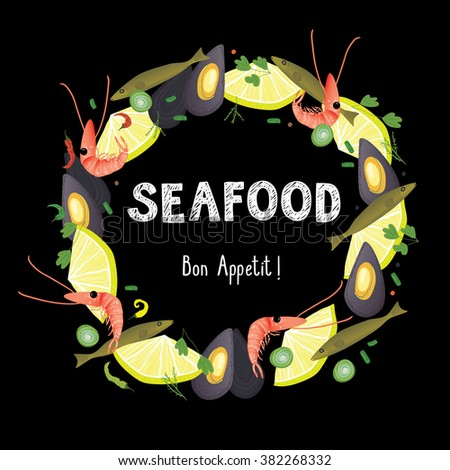 seafood frame - stock vector