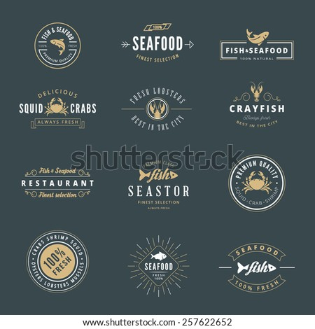 Seafood Hipster Logo design vector typography lettering templates. Retro Vintage Labels such as logos, logotypes, label, badges, stamps and symbols. - stock vector
