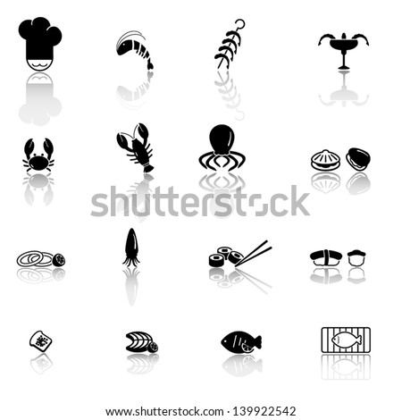 Seafood icon set - stock vector