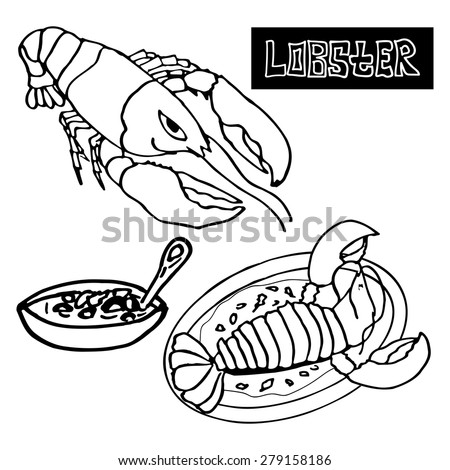 seafood lobster, the lobster bisque, delicacies - stock vector
