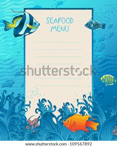 Seafood menu design background template, marine fauna elements - stock vector