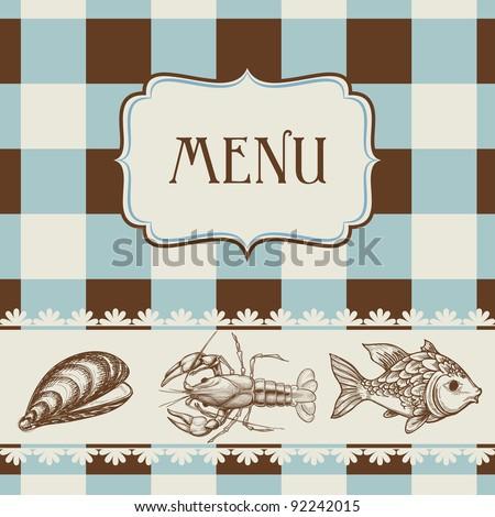 Seafood menu vector - stock vector