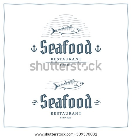 Seafood restaurant logo template. Vector logo for the fish menu. - stock vector