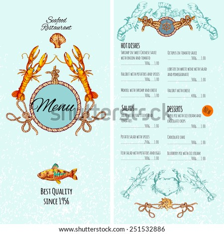 Seafood restaurant menu card template with premium fish dishes vector illustration - stock vector