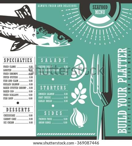 Seafood restaurant menu design. Abstract menu layout concept for diner or cafe bar on dark black background. Bistro menu layout.  - stock vector