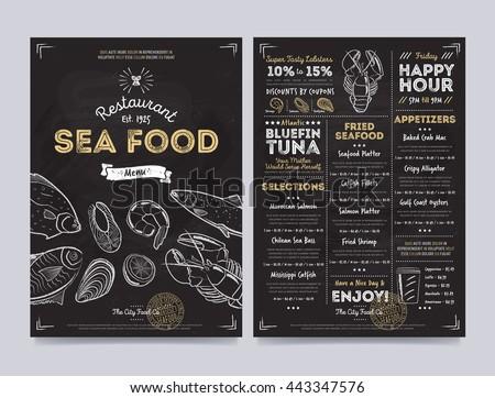 Seafood restaurant menu design template on chalkboard background vector illustration.