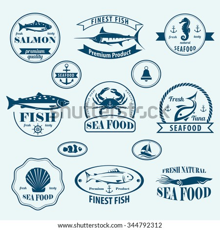 seafood retro emblems and labels set - stock vector