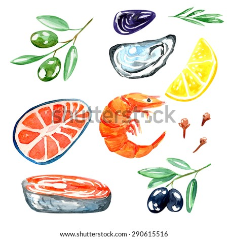 Seafood. Set of nautical food. Watercolor illustration. Fish, prawns, oyster, olives, lemon, cloves and mussels. - stock vector